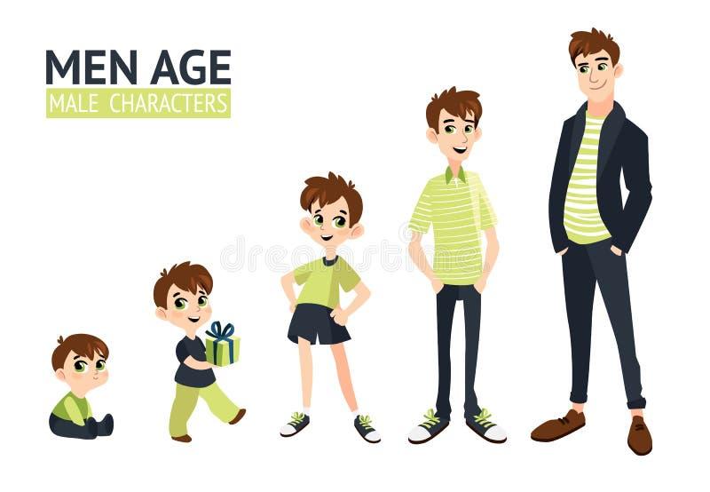Reeks karakters in beeldverhaal vlakke stijl vector illustratie
