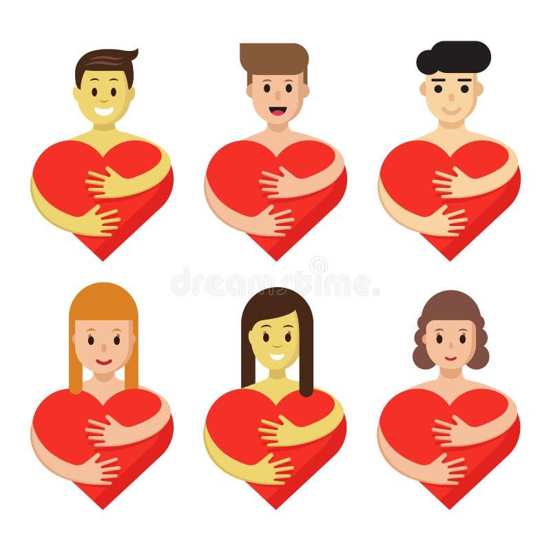Reeks karakters die hart koesteren De beeldverhaalmensen houden rode liefdesymbolen geïsoleerd Creatieve vlakke emblemeninzamelin stock illustratie