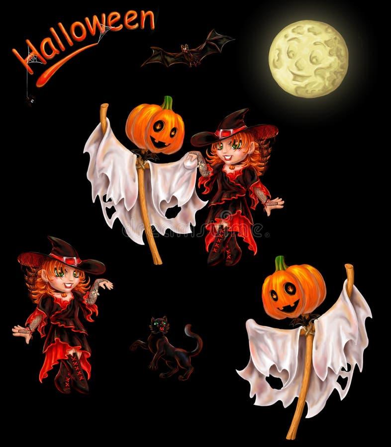 Reeks karakters voor Halloween op zwarte royalty-vrije illustratie