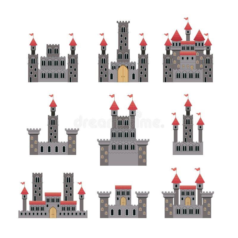 Reeks kastelen van sprookjes op witte achtergrond vector illustratie