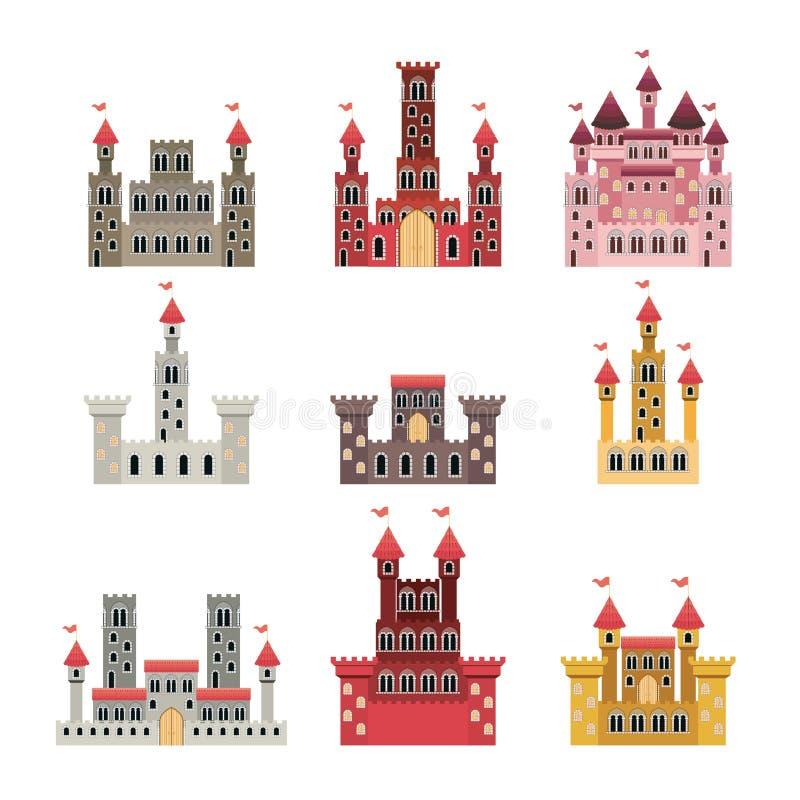 Reeks kastelen van sprookjes op witte achtergrond royalty-vrije illustratie