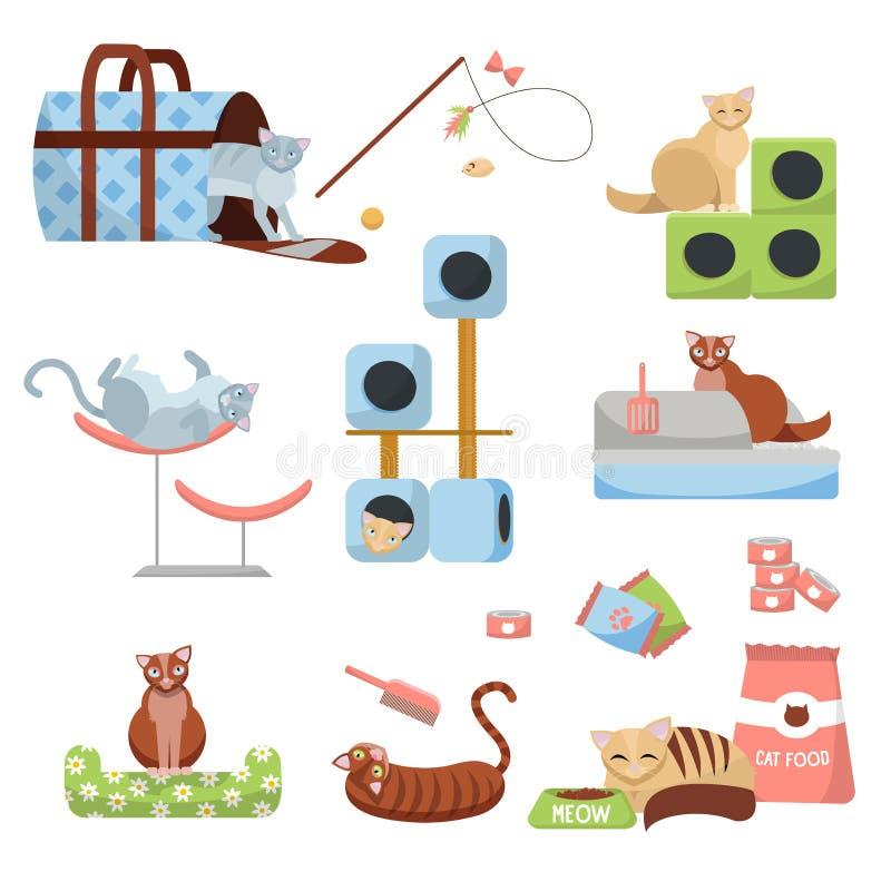 Reeks katten van Kattentoebehoren: krassend post, huis, bed, voedsel, toilet, pantoffel, drager en speelgoed met 8 katten Het mat royalty-vrije illustratie
