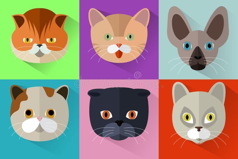Reeks kattenhoofden in vlakke stijl Leuk katten vectorpatroon Bakkebaarden en oren Dierlijk die Portret met Vlak Ontwerp wordt ge royalty-vrije illustratie