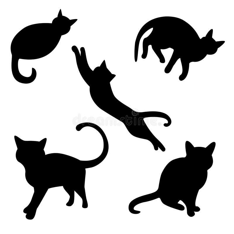 Reeks kattensilhouetten royalty-vrije illustratie