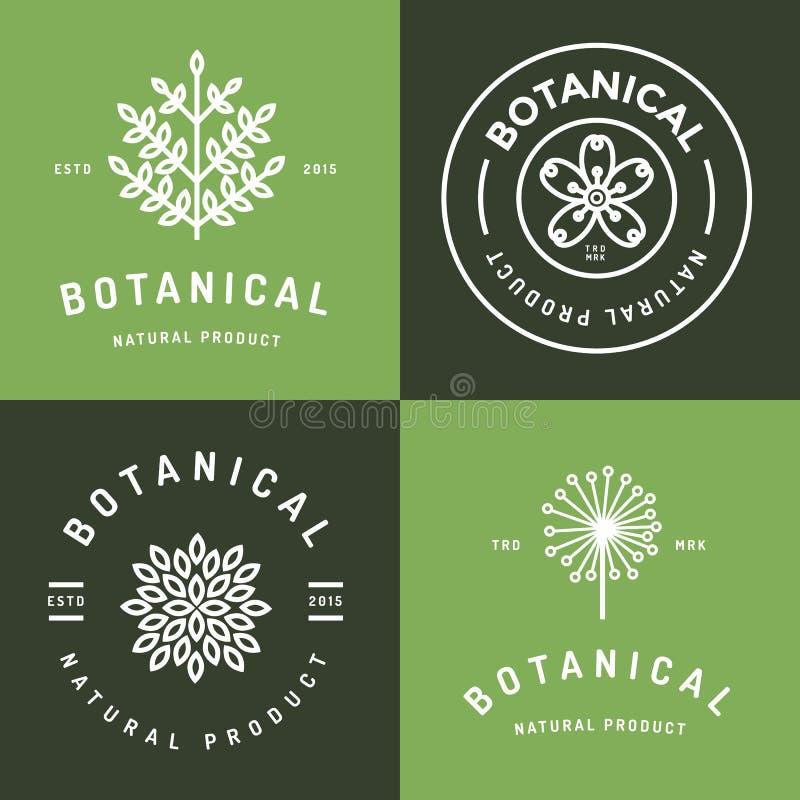 Reeks kentekens, banner, etiketten en emblemen voor botanisch natuurlijk product, winkel Bladembleem, bloemembleem Het lineaire o vector illustratie
