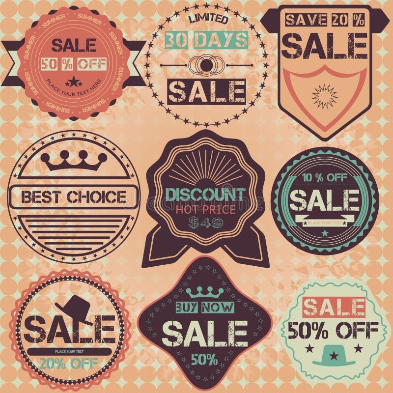 Reeks kentekens, de linten en etiketten van de verkoopkorting retro uitstekende hallo royalty-vrije illustratie