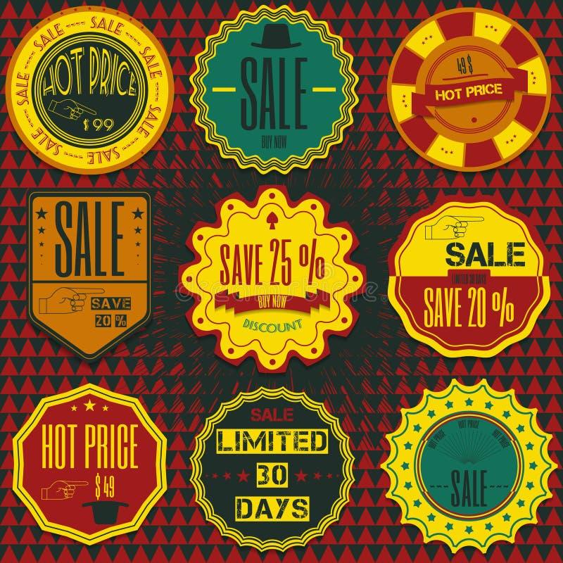 Reeks kentekens, de linten en etiketten van de verkoopkorting retro uitstekende hallo vector illustratie