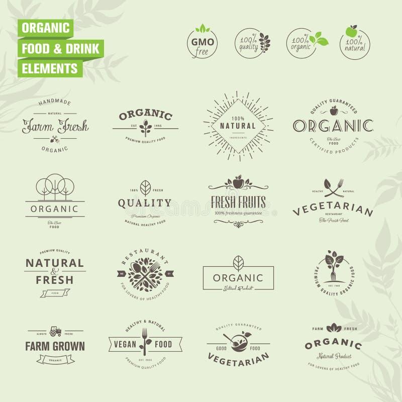 Reeks kentekens en etikettenelementen voor natuurvoeding en drank stock illustratie