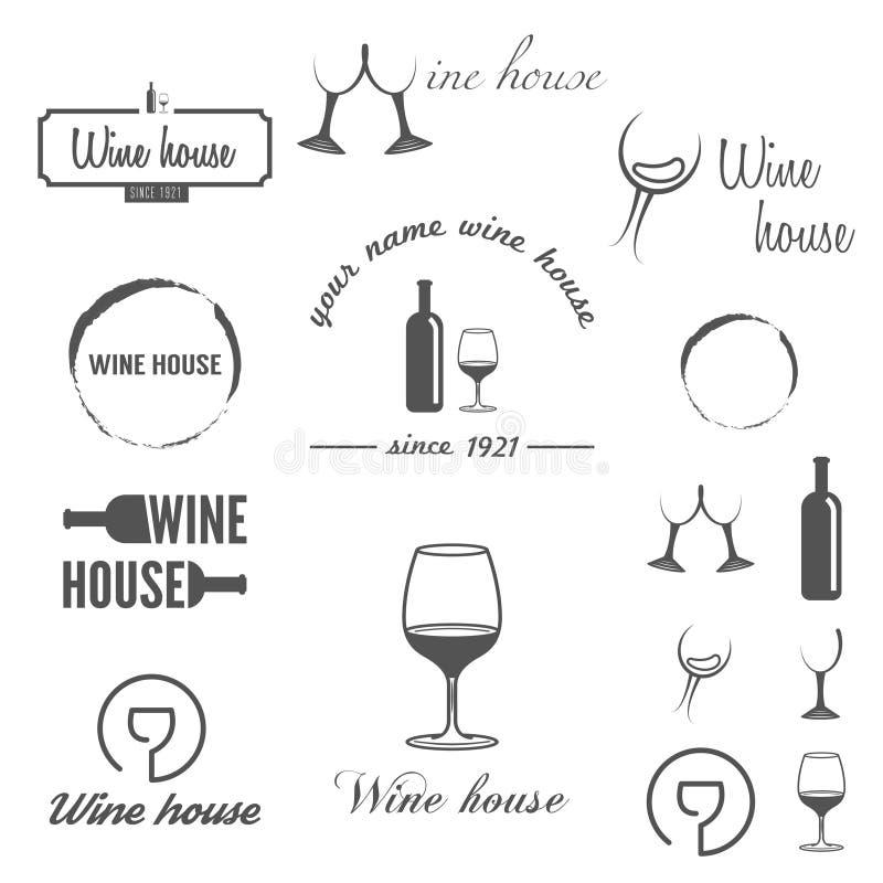 Reeks kentekens, etiketten, embleem en logotype elementen royalty-vrije illustratie