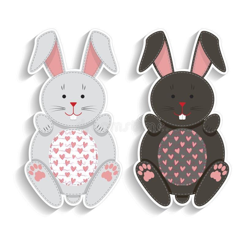 Reeks kentekens met applique leuke konijnen Beste ontwerp voor stickers, borduurwerkflarden Vector illustratie stock illustratie