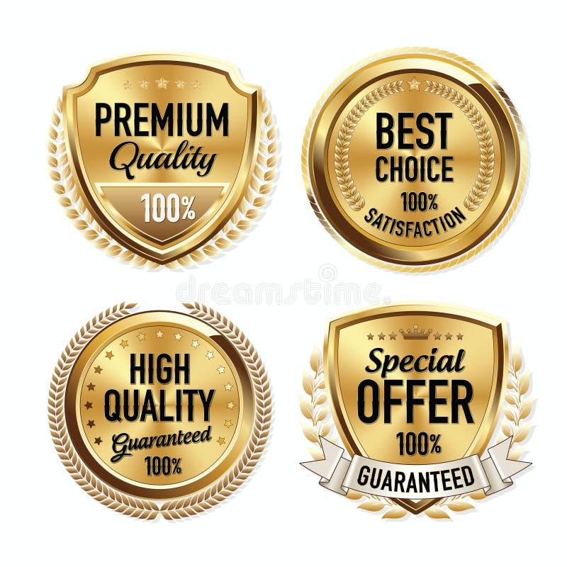 Reeks Kentekens van de Luxe Gouden Kwaliteit stock illustratie