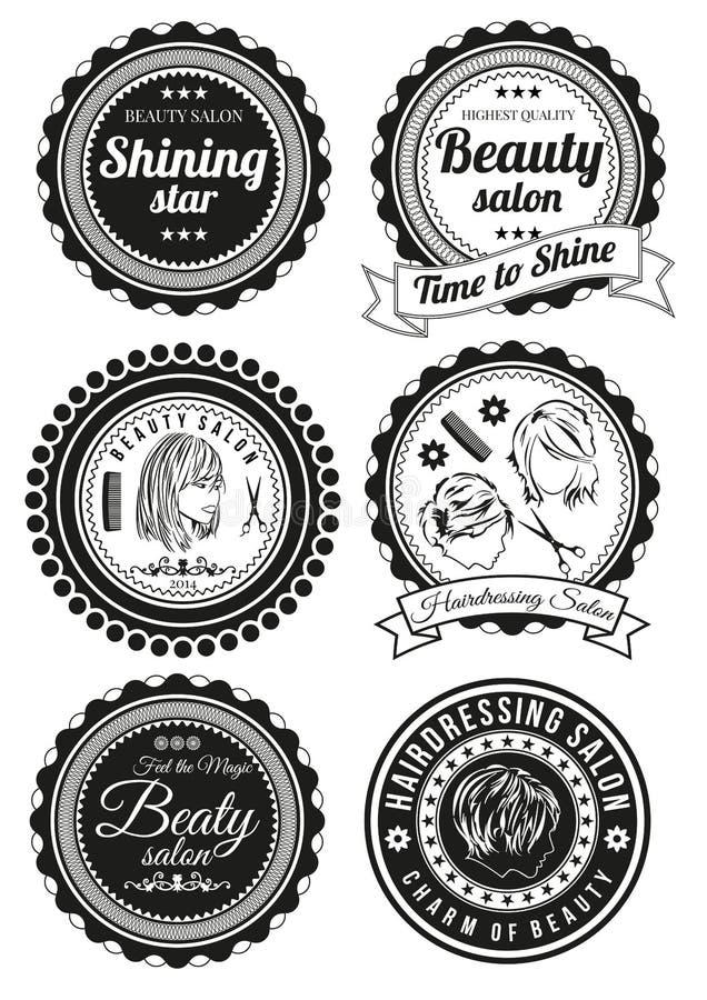 Reeks kentekens voor schoonheid en haidressing salons stock illustratie