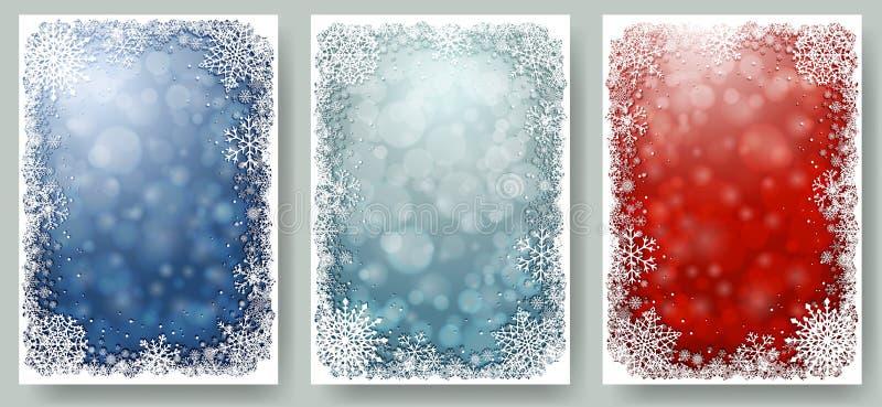 Reeks Kerstkaarten met kader van sneeuwvlokken stock illustratie