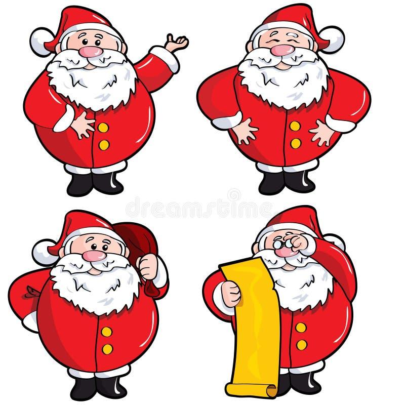 Reeks Kerstman van het Beeldverhaal stock illustratie