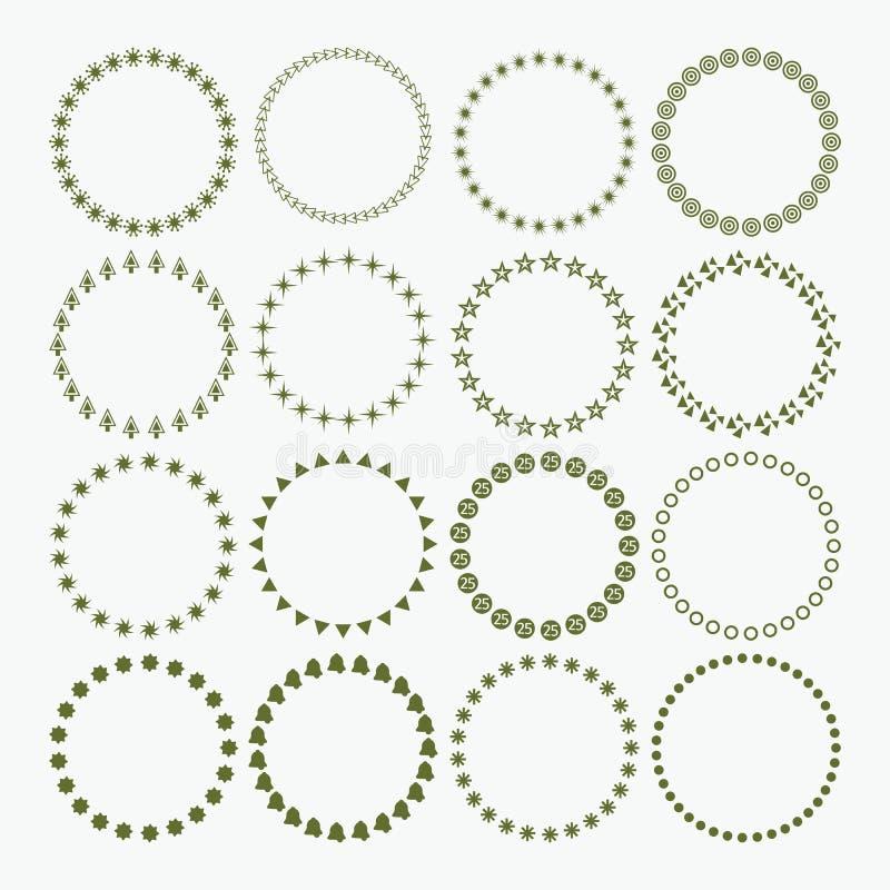 Reeks Kerstmis en de Vakantiesymboolpatronen van de cirkelgrens decoratieve vector illustratie