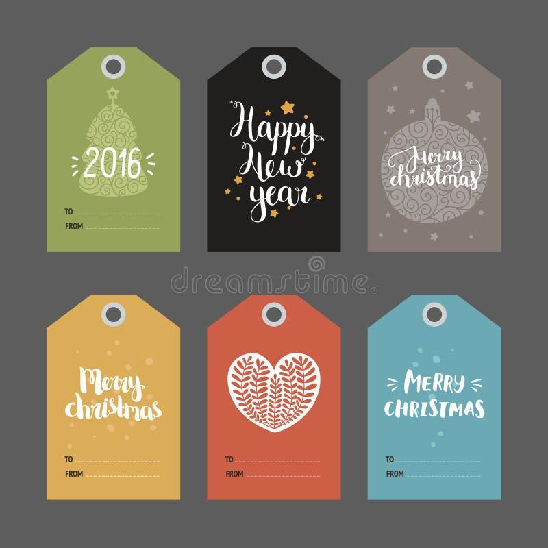 Reeks Kerstmis en Nieuwe jaarmarkeringen royalty-vrije illustratie