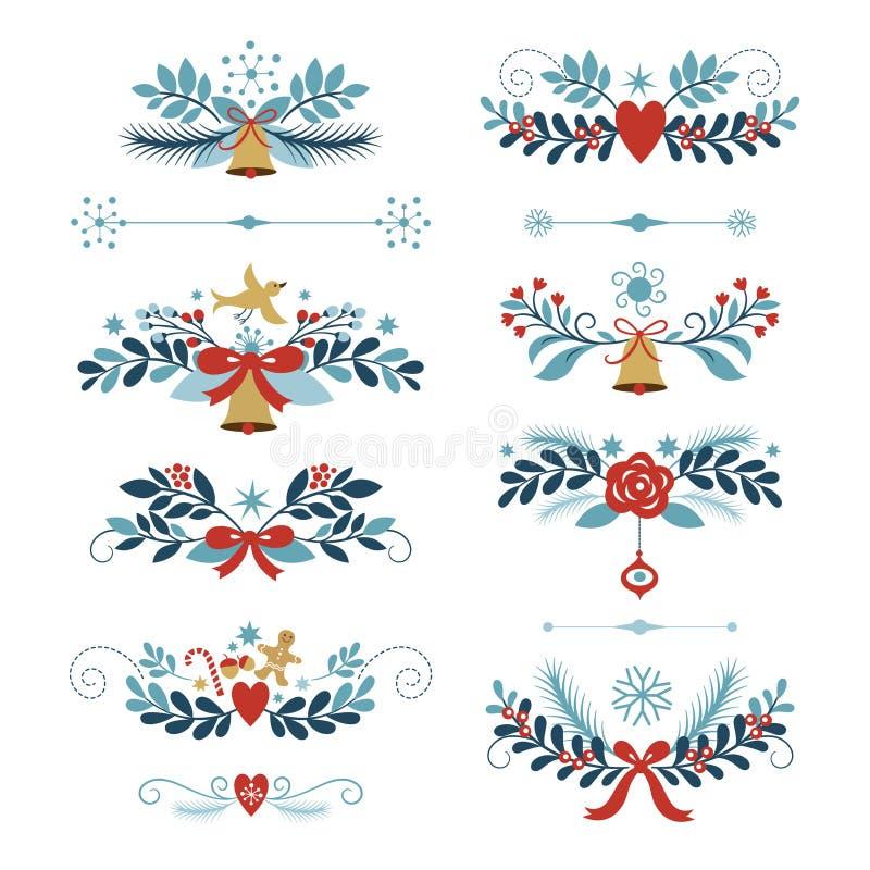 Reeks Kerstmis en Nieuwjaar grafische elementen stock illustratie