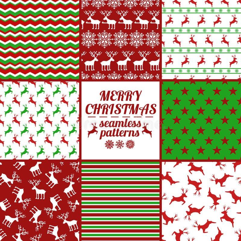 Reeks Kerstmis en Nieuwjaar Naadloze Patronen met Deers vector illustratie