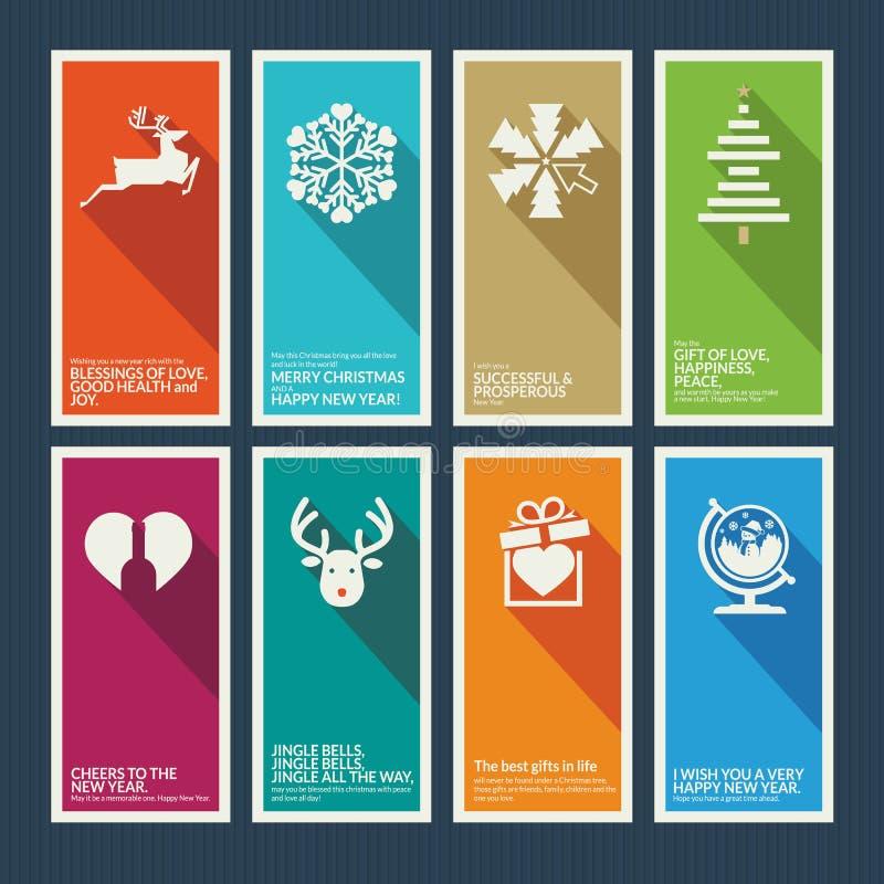 Reeks Kerstmis en Nieuwjaargroetkaarten stock illustratie