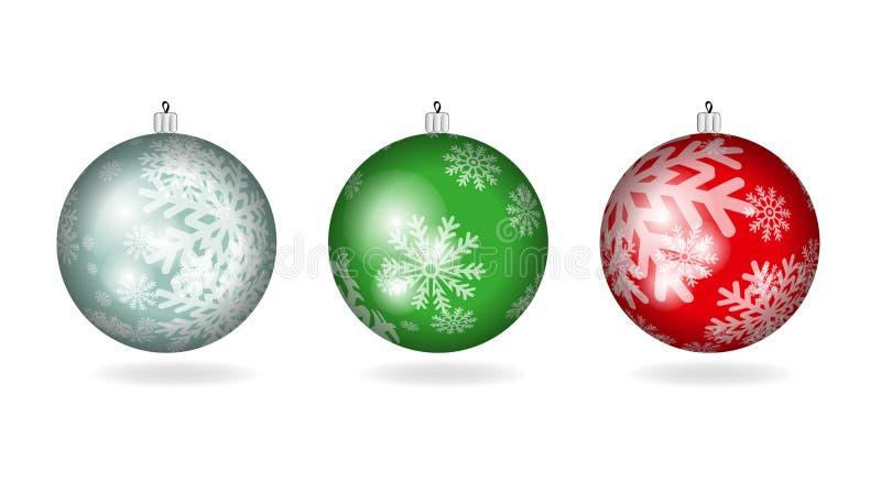 Reeks Kerstmis kleurrijke ballen stock illustratie