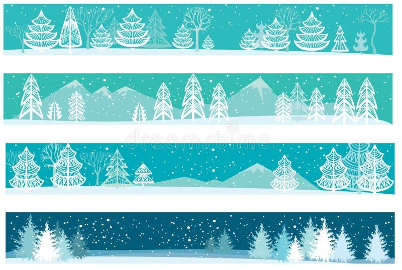Reeks Kerstmisbanners stock illustratie