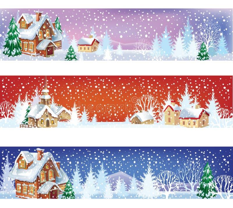 Reeks Kerstmisbanners vector illustratie