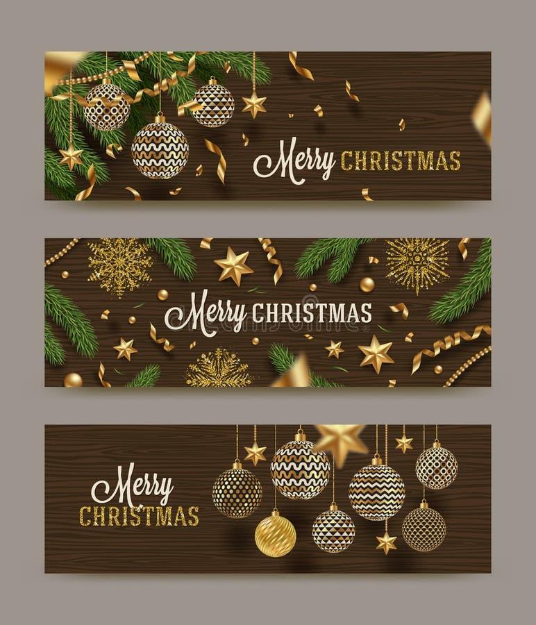 Reeks Kerstmisbanners Kerstmisdecor op een houten achtergrond stock illustratie
