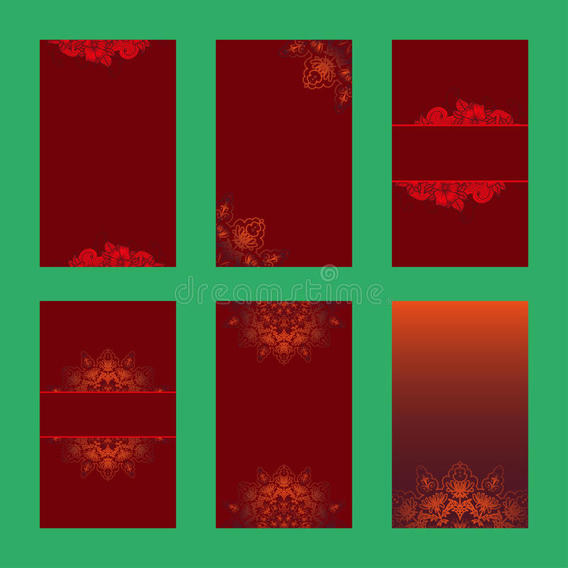 Reeks Kerstmisbrochures zes ontwerpkaart stock illustratie