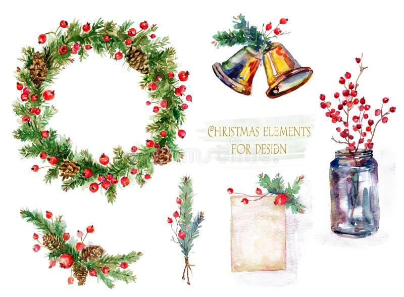 Reeks Kerstmisdecoratie De illustratie van de waterverf vector illustratie