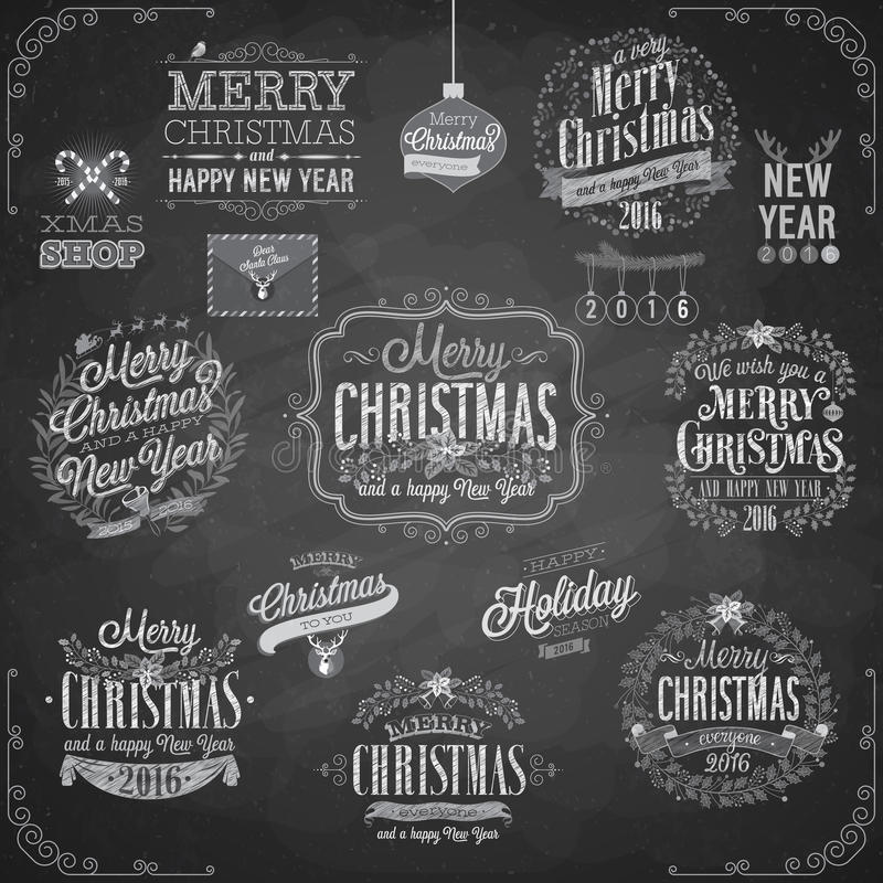 Reeks Kerstmisemblemen - Bord vector illustratie