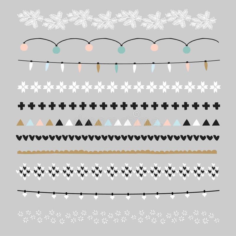 Reeks Kerstmisgrenzen, borstels Partijdecoratie met Kerstmislichten, gebreide patronen Geïsoleerde voorwerpen royalty-vrije illustratie
