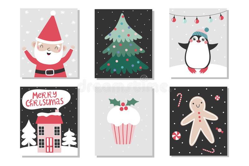 Reeks Kerstmiskaarten royalty-vrije illustratie