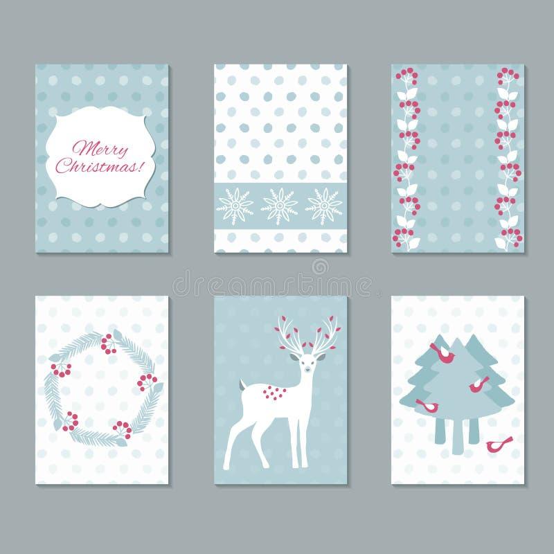 Reeks Kerstmiskaarten stock illustratie
