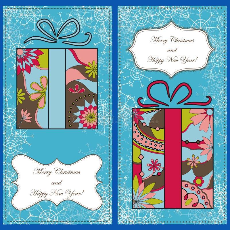 Reeks Kerstmiskaarten met giften en sneeuwvlokken vector illustratie