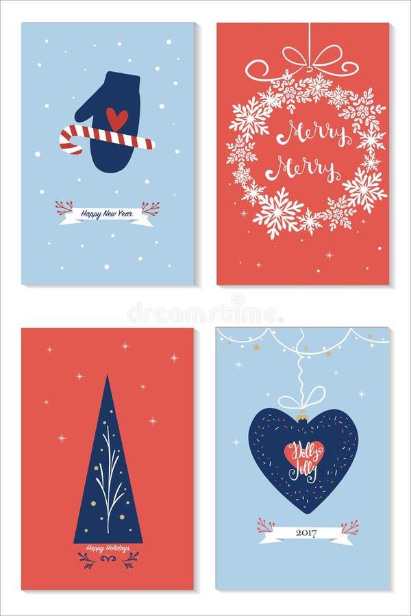 Reeks Kerstmiskaarten met wensen, nieuwe jaarboom, giftboxes vakantiedecoratie over blauwe en rode backround vector illustratie
