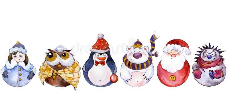 Reeks Kerstmiskarakters op witte achtergrond worden geïsoleerd die stock illustratie