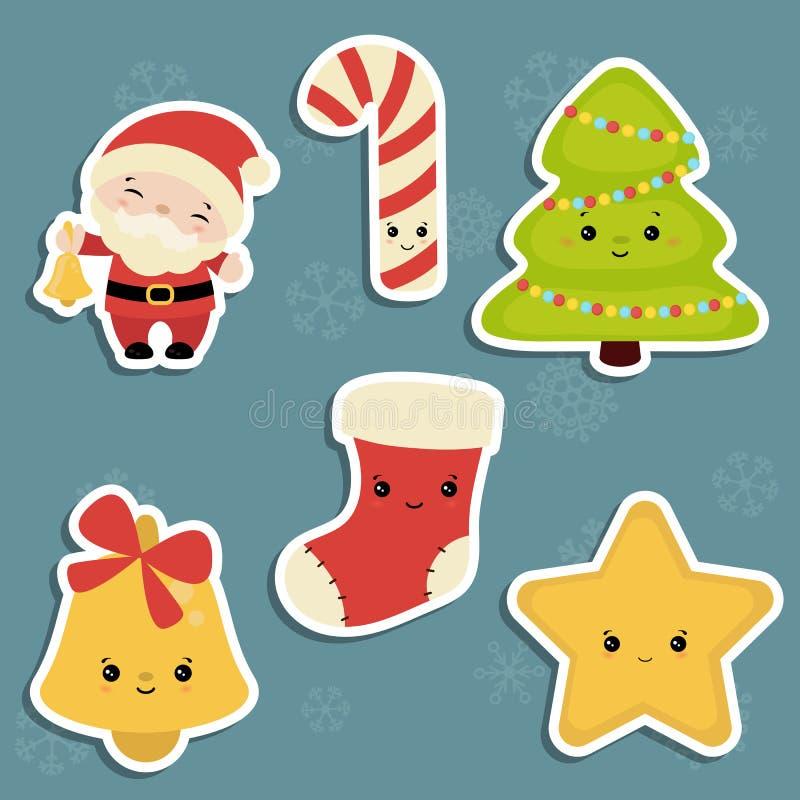 Reeks Kerstmispictogrammen royalty-vrije illustratie