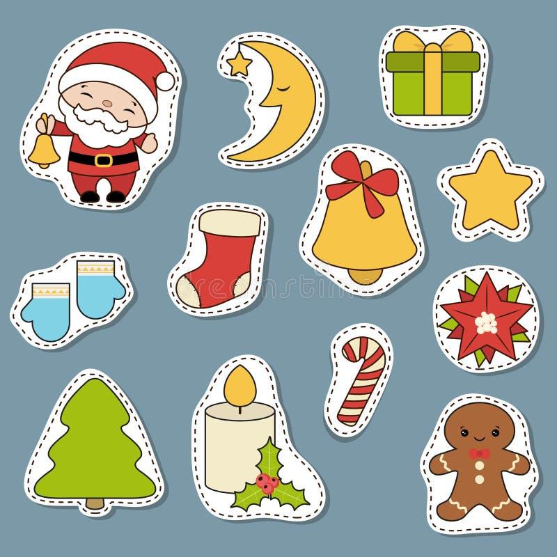 Reeks Kerstmispictogrammen vector illustratie