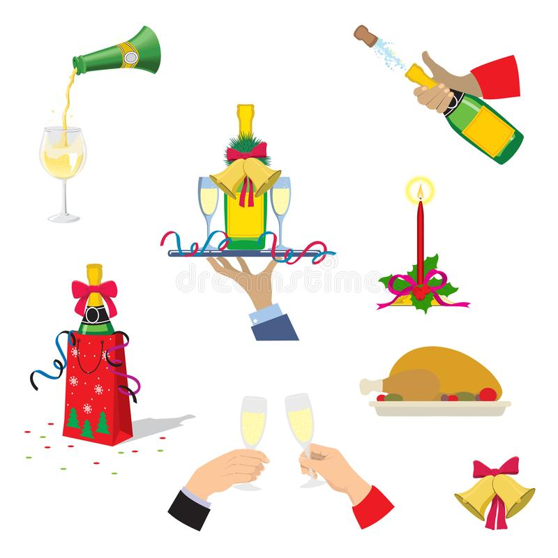 Reeks Kerstmispictogrammen Champagne, Kerstmis Turkije, giften, klok, kaars De vectorillustratie van het beeldverhaal stock illustratie
