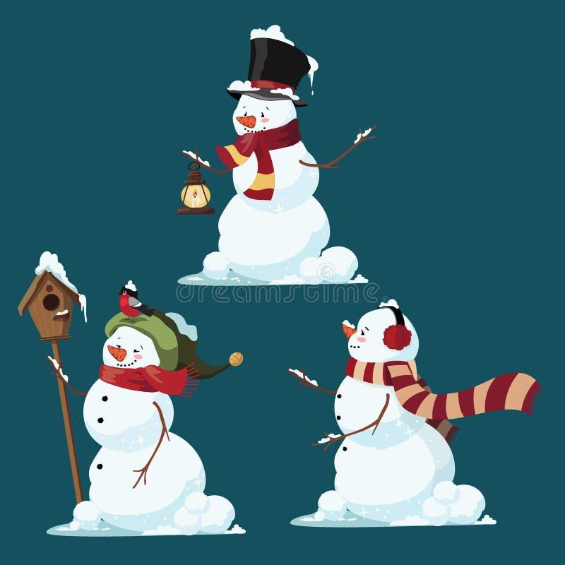 Reeks Kerstmissneeuwmannen Inzameling van grappig beeldverhaal stock illustratie