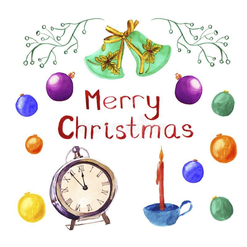 Reeks Kerstmissymbolen Ballen, klok, kaars, klokken De decoratie van waterverfkerstmis, illustratie Vrolijke Kerstkaart stock illustratie