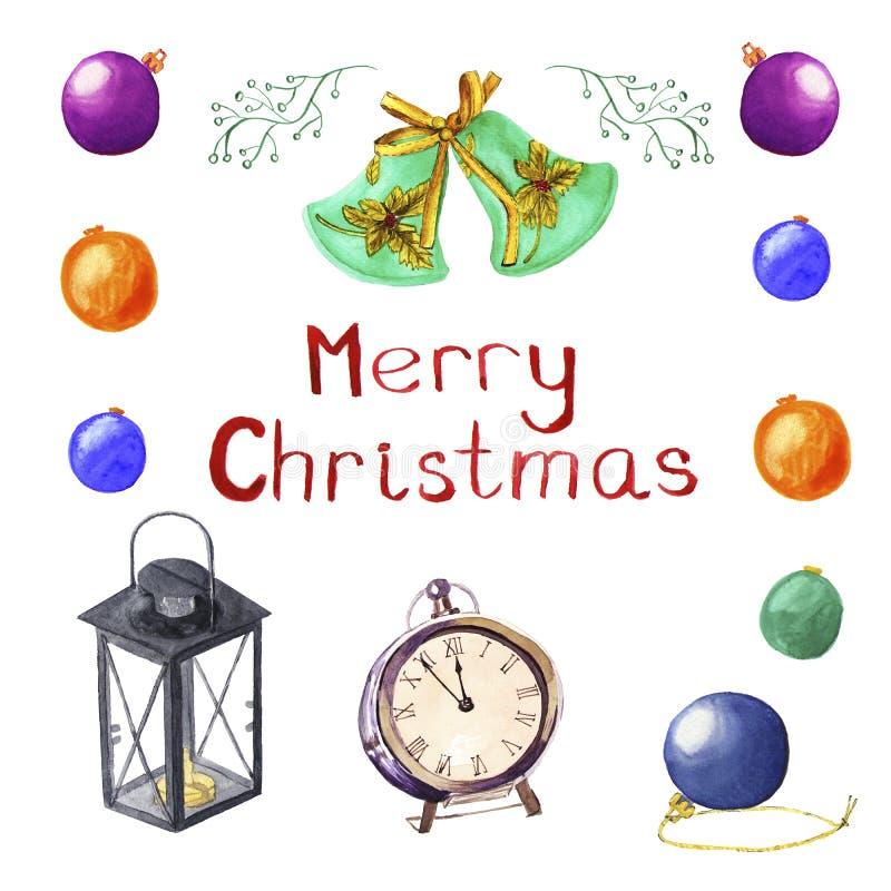 Reeks Kerstmissymbolen Ballen, klok, lamp, klokken De decoratie van waterverfkerstmis, illustratie Vrolijke Kerstkaart stock foto's