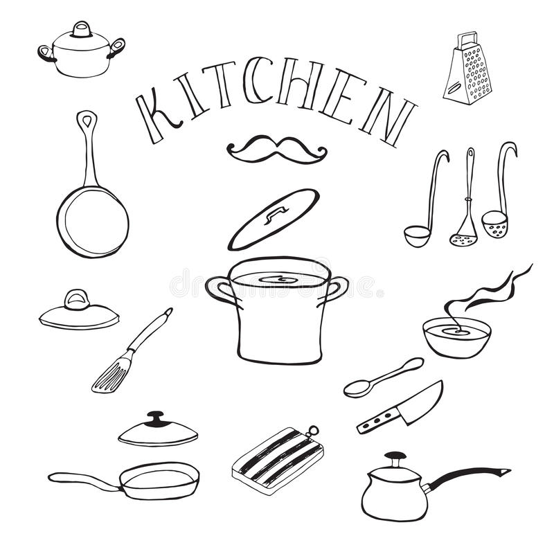 Reeks keukengereedschap Krabbelsinzameling royalty-vrije illustratie