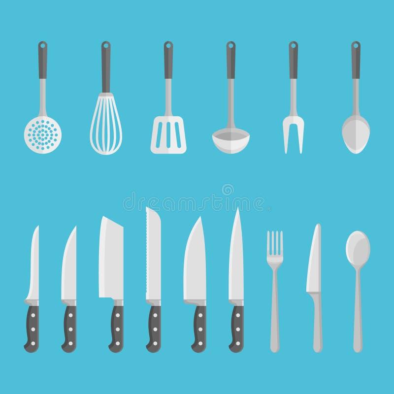 Reeks keukengerei, hulpmiddelen op blauwe achtergrond worden geïsoleerd die Vlakke stijl vectorillustratie vector illustratie