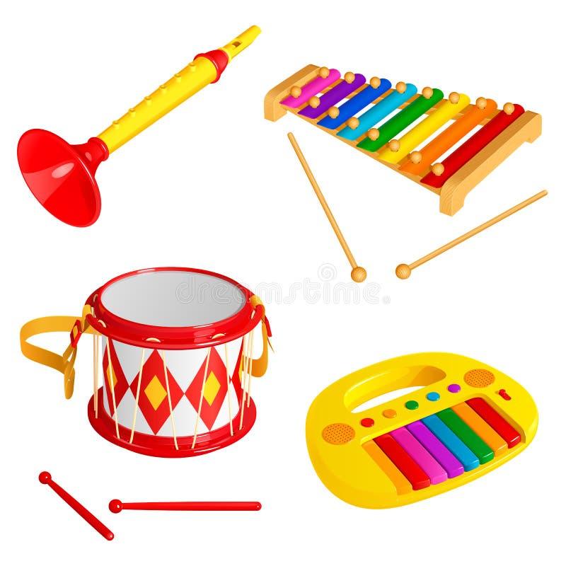Reeks kinderen` s stuk speelgoed muzikale die instrumenten, op witte achtergrond wordt geïsoleerd stock illustratie