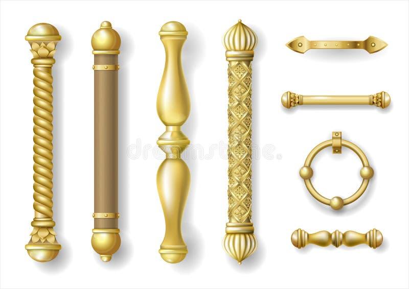 Reeks klassieke gouden deurhandvatten royalty-vrije illustratie