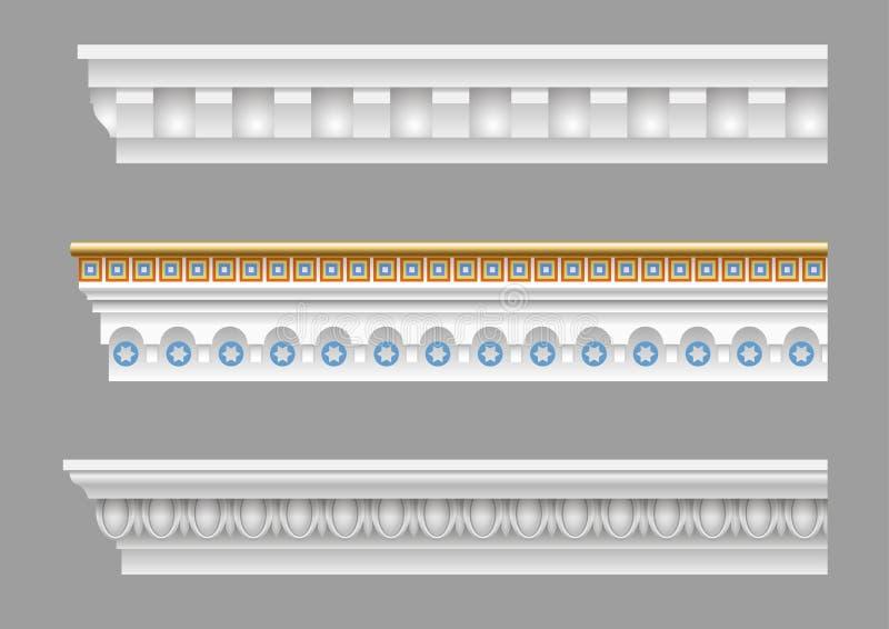 Reeks klassieke kroonlijsten vector illustratie