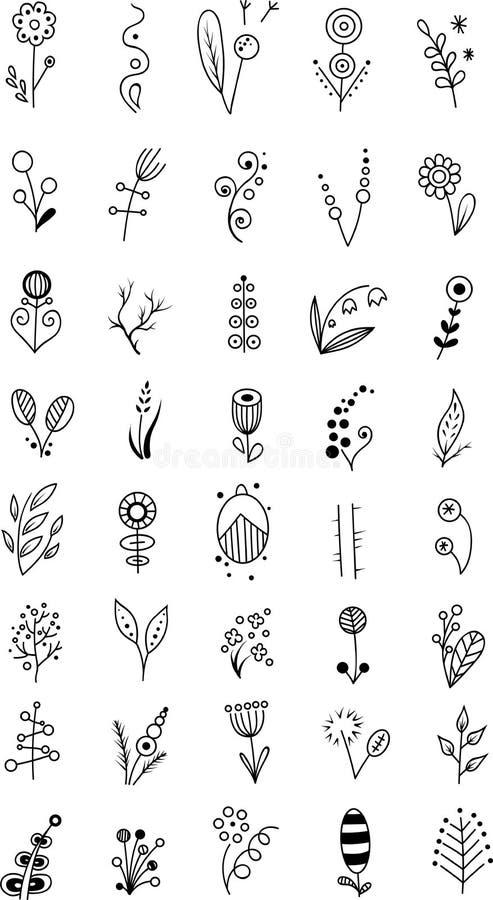 Reeks kleine bloemen vector illustratie
