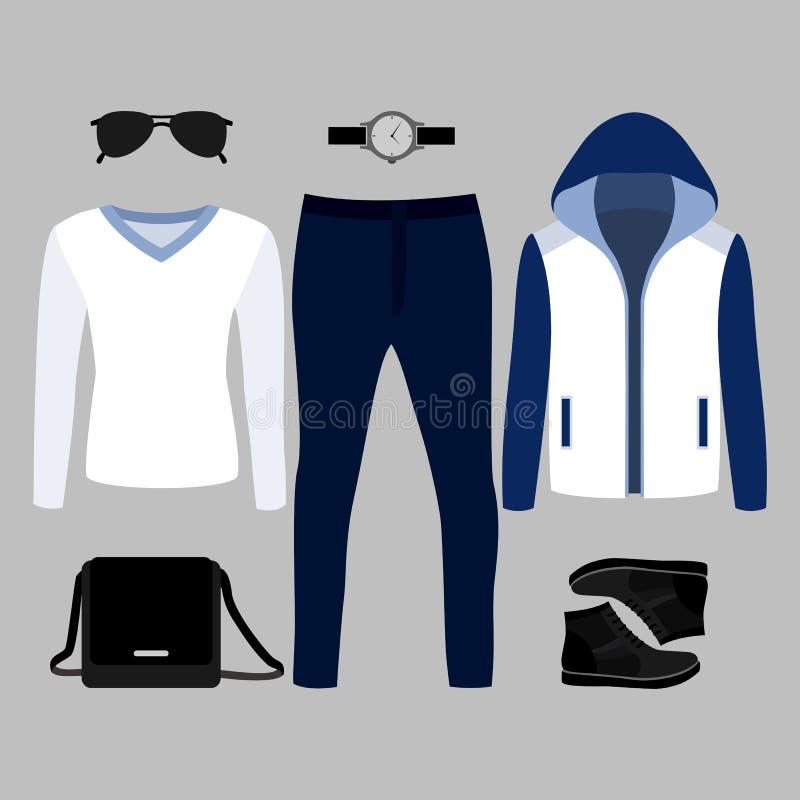 Reeks kleren van in mensen Uitrusting van mensenblazer, trui, broek en toebehoren De garderobe van mensen stock illustratie