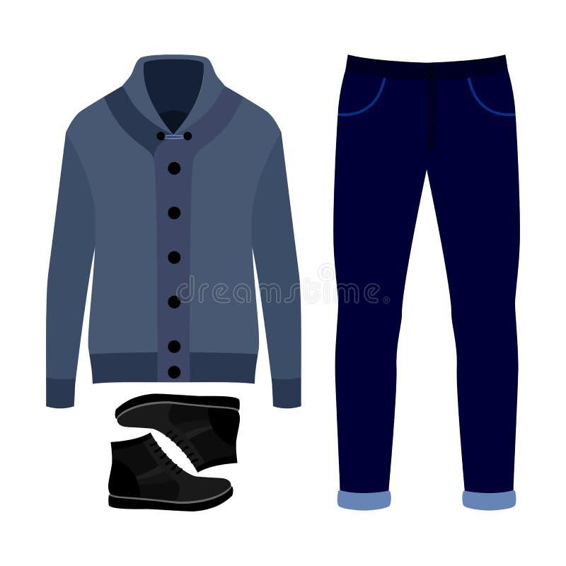 Reeks kleren van in mensen Uitrusting van mensencardigan, broek en en toebehoren De garderobe van mensen stock illustratie
